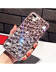 For iPhone 7 Plus/8 Plus Cute Sparkle Jewel Case,Aearl TPU Soft Luxury 3D Crystal Rhinestone Bling Full Diamond Glitter Shinning Cover with Screen Protector for iPhone 8 Plus/7 Plus -Clear and Pink