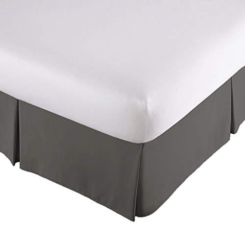 Lux Decor Collection Bed Skirt Long Staple Fiber - Durable, Comfortable & Abrasion Resistant, Quadruple Pleated, 100% (Queen,Grey) ()