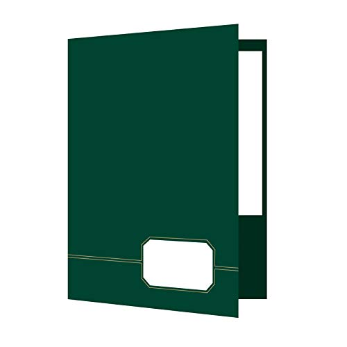 Oxford Monogram Executive Twin Pocket Folders, Letter Size, Green with Gold Foil Trim, 4 Pack - Business Cards Green Executive