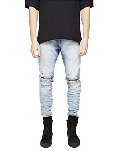 Stile E Skinny Morbido Slim Semplicemente Denim Jeans Vintage Moda Pantaloni Blau Elasticizzato Fit In Uomo Strappati X07xqO8