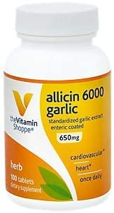 The Vitamin Shoppe Allicin 6000mcg Garlic, 650mg, Enteric Coated Tablets for Easy Swallowing, Promotes Healthy Cholesterol and Overall Hearth Health, Take Once Daily 100 Tablets