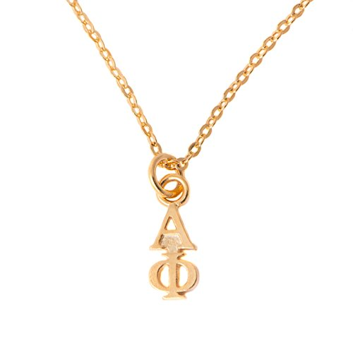 Desert Cactus Alpha Phi Sorority 24k Gold Plated Lavalier Letter Necklace with Chain A Phi (24k Lavalier)