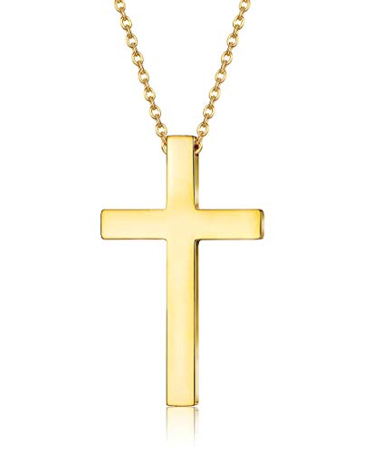 FIBO STEEL Stainless Steel Cross Pendant Necklace for Men Women Curb Chain 22 Inches