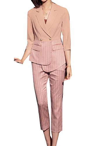 VITryst-Women Pinstripe Classic Work Fashion Notch Lapel Blazer with Pants Pink S