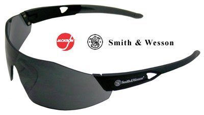 Smith & Wesson 44 Magnum Black Polycarbonate Standard Safety Glasses - 99.9 % UV Protection - Wrap Around Frame - 23453 [PRICE is per PAIR] by Smith & - Glasses Prices Frames