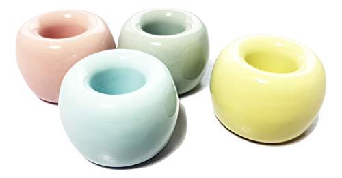 Hwasubun Ceramics Toothbrush Holders Tooth Brush Stands 4 Pcs (Set A) ()