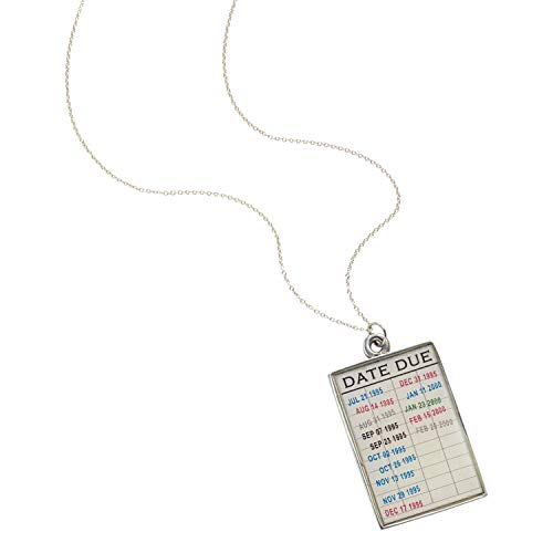 """Date Due Library Card"" pendant necklace by Floriana"