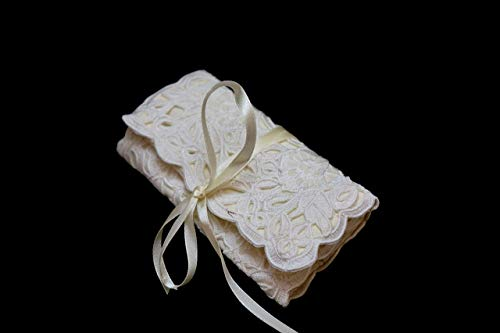 (Champagne Lace Jewelry Travel Pouch, Small Tri-Fold, Philippines Cutwork Embroidery Jusi Silk)