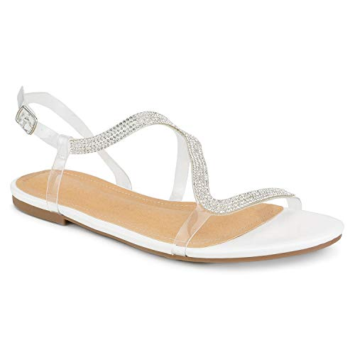 RF ROOM OF FASHION Jeweled Clear PVC Flat Sandals White Size.8 ()