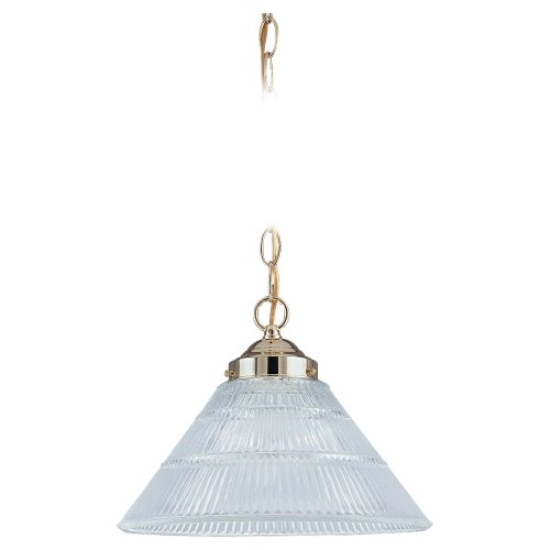 Sea Gull Lighting 6671-02 Single-Light Pendant, Clear Ribbed Glass and Polished Brass