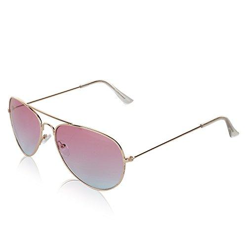 Classic Aviator Womens Fake Glasses Gradient Colored Lens Sunnies (Purple - Designer Discounted Glasses