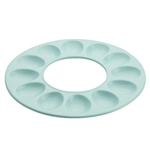 Rachael Ray 47866 12-Cup Stoneware Egg Tray, Light Blue