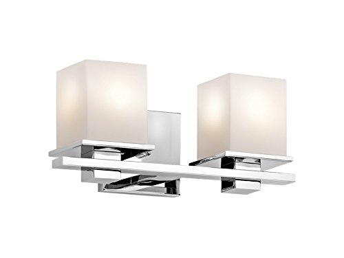 Kichler 45150CH Tully 2-Light Vanity Fixture and Satin Etched Cased Opal Glass, Chrome Finish high-quality
