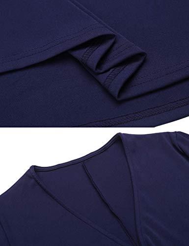Vestir Azul Marino Falda Fiesta Del La En Larga Melyseu Las Vendimia Mujeres Cuello Navidad Vestidos V Manga De Skirt UPWS7qWcT