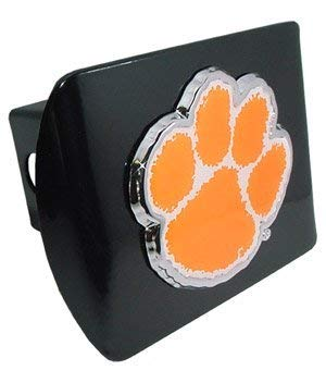 Clemson University Tigers ''Black with Chrome & Color Paw Emblem'' NCAA College Sports Trailer Hitch Cover Fits 2 Inch Auto Car Truck Receiver by Elektroplate