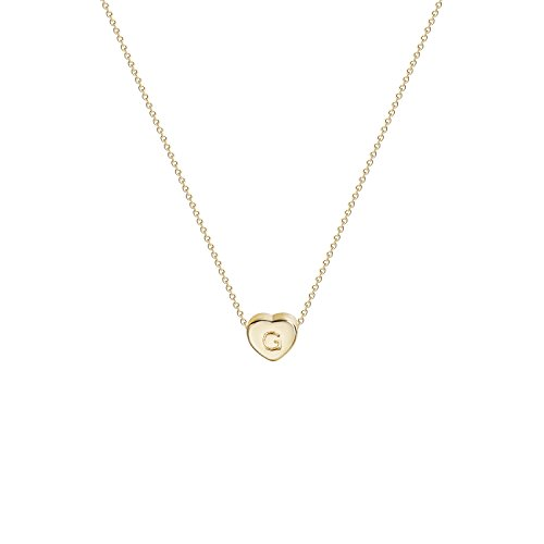 - Tiny Gold Initial Heart Necklace-14K Gold Filled Handmade Dainty Personalized Heart Choker Necklace for Women Letter G