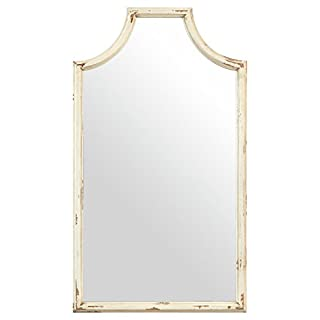 Stone & Beam Curved Vintage-Look Wood Hanging Wall Frame Mirror Decor, 28 Inch Height, White (B073WGP8YJ)   Amazon Products