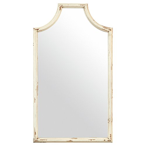 Stone & Beam Curved Vintage-Look Wood Hanging Wall Frame Mirror Decor, 28 Inch Height, White (Bamboo Wall Mirror)