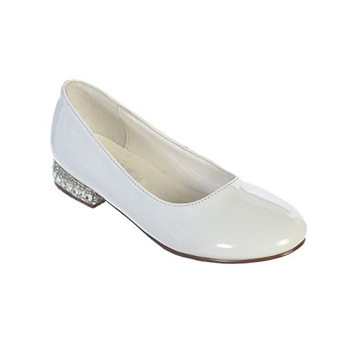 Girls White Glitter Rhinestone Jeweled Heel Patent Leather Flats 1 - Flat Kids Top