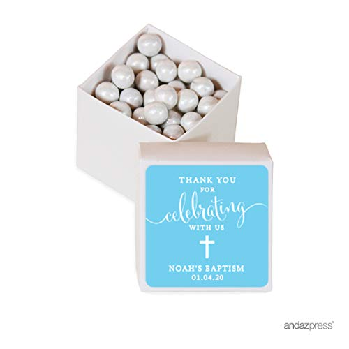 - Andaz Press Personalized Mini Square Party Favor Box DIY Kit, Baptism, Thank You for Celebrating with Us, Blue, 20-Pack, for Religious, Christening Party Favors, Decorations, Custom Name