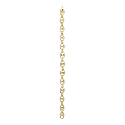 (Jewelry4All 9mm Iced Out Gold Plated Gucci-Link Pig Nose Bracelet with Simulated Diamond Crystals)