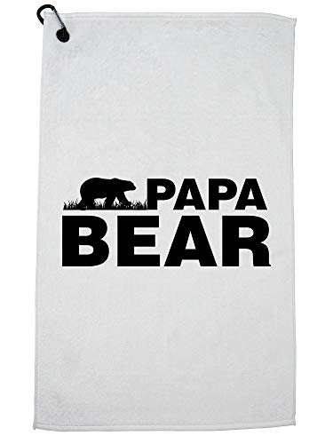 Hollywood Thread Papa Bear - Dad Vintage Proud Father Dad Golf Towel with Carabiner Clip