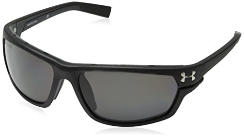 Under Armour Men's Hook'd Storm (ansi) Polarized Rectangular, Satin Black, 64 mm
