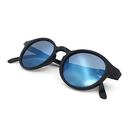 J+S Hali Retro Round Cat Eyes Sunglasses, Polarized, 100% UV protection, Spring Hinged (Black Frame/Blue Mirror Lens)