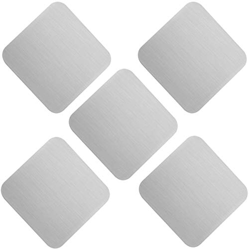 Coasters - Stainless Steel Anti-Slip Square Cup Mat/Heat Insulation Coffee,Tea,Soap Dish Cup Pads - Set of 5-3.7 by 3.7 Inches - Protects Furniture From Damage & Stain by OKOMATCH