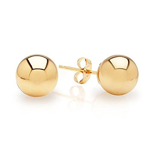 14K Real Gold Ball Stud Earrings Sizes 3 4 5 6 7 8 9 10 12 14 by MC Creations