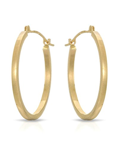 MCS Jewelry 14 Karat Yellow Gold Classic Square Hoop Earrings (Diameter: 25 mm) by MCS Jewelry Earring Collection (Image #3)