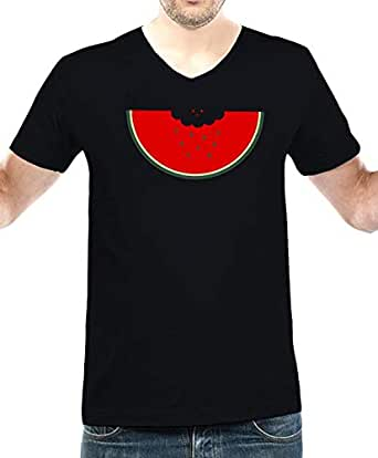 IngraveIT Black Cotton V Neck T-Shirt For Men