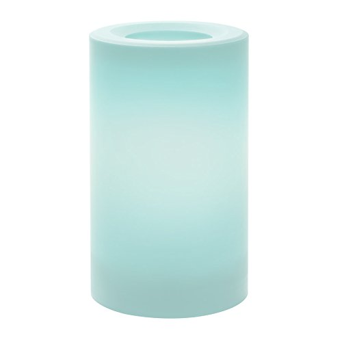 Sterno Home Inglow Indoor/Outdoor Plastic Pillar Candle with 5-Hour Timer, Misty Blue, 3