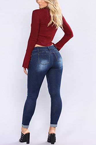 Jeans Pantalons yulinge Blue Destoryed Denim Les Dchirs Poche RXX74Eqn