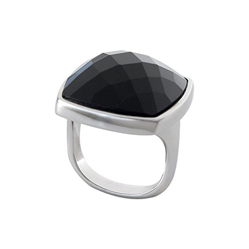 Divoti Women's Stainless Steel Multi Faceted Black Onyx Fashion Ring - Size 5