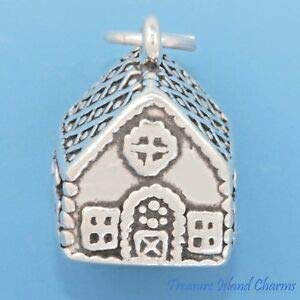 Christmas Gingerbread House 3D 925 Sterling Silver Charm Pendant Made in USA Crafting, Bracelet Necklace Jewelry Findings Jewelry Making Accessory ()