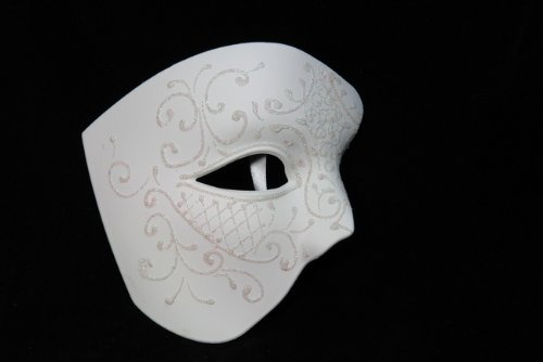 NEW Laser Cut Phantom Of the Opera Masquerade Halloween Ballroom Mask - Elegantly Detailed and Decorated Ceramic White w/ Glitter Lining]()
