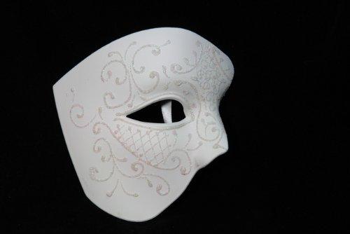 NEW Laser Cut Phantom Of the Opera Masquerade Halloween Ballroom Mask - Elegantly Detailed and Decorated Ceramic White w/ Glitter -
