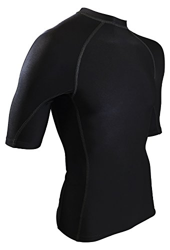 Rash Guard Shirt - USA Made Swim & Workout Shirt. UV Protection and Sweat Guard For Everyday Workouts. (Black, - Usa Legends