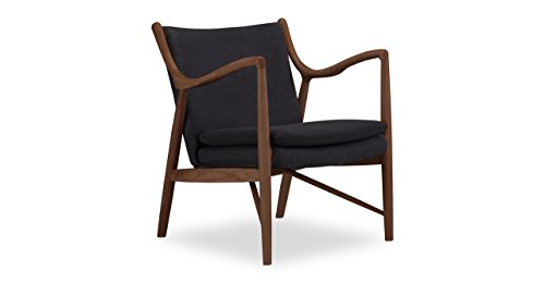 Kardiel Copenhagen 45 Mid-Century Modern Arm Chair, Urban Ink Twill/Walnut