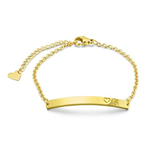 THREE KEYS JEWELRY Initial S Bracelet 316L Stainless Steel Gold Tone Bar Pendant Letter Alphabet Disc Jewelry for Women and Girls(6.5