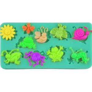 ummer Grass theme candy mold Sugarcraft fondant gunpaste cake decoration cupcake topper icing sugarpaste silicone mould, includes sun, insects (bee butterfly ladybug snail caterpillar spider grasshopper ) , frog, non -
