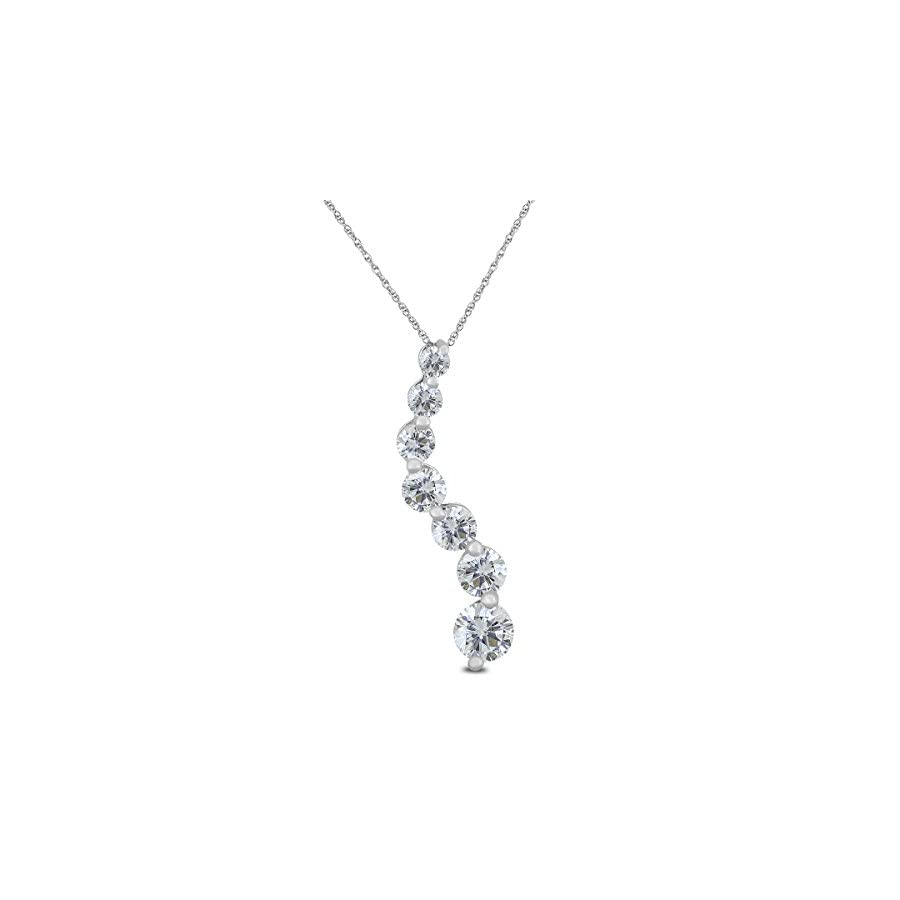 AGS Certified 1/2 Carat TW Diamond Journey Pendant in 10K White Gold (K L Color, I2 I3 Clarity)