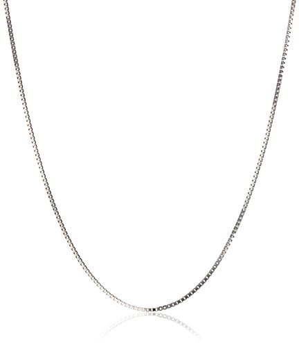 "18k White Gold Italian .5mm Diamond-Cut Box Chain Necklace, 20"""