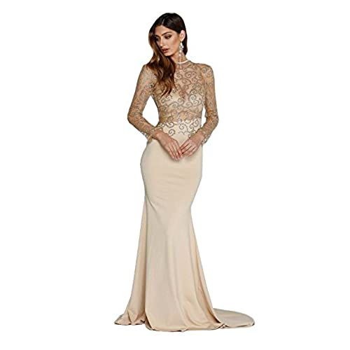 Missord Womens O Neck Long Sleeve Bodycon Maxi Dress for Prom Medium Khaki