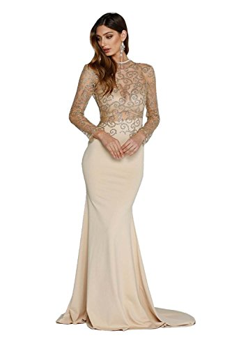 Miss ord Women's O Neck Long Sleeve Bodycon Maxi Dress for Prom Small Khaki