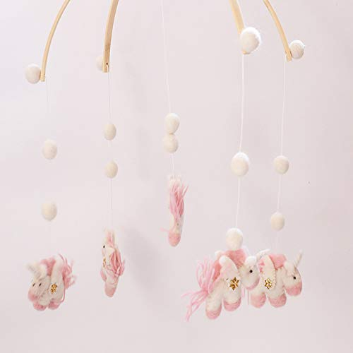 T-REASURE Baby Bed Bell,Nordic Style Wooden Crib Musical Hanging Rotate Bell Ring Rattle Mobile Toy for Nursery Decoration Newborn Gift Bedroom Ceiling Wooden Beads Wind Chime Hanging Ornament