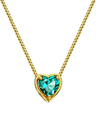Mints 18K Gold Plated Silver Birthstone Pendant Necklace Tourmaline October Gemstone Heart Shape Fine Jewelry for Women -