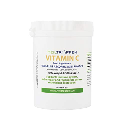 Pure Ascorbic Acid fine crystalline Powder, 0.55lb - 250g, Vitamin C, Pharma Grade (Ph. EUR, USP, BP). Heiltropfen®