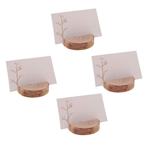 (BROSCO 4PCS Wood Card Set Wedding Place Card Holder Table Number Stand Home Decor)